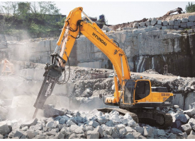 Hyundai 210 with rock breaker